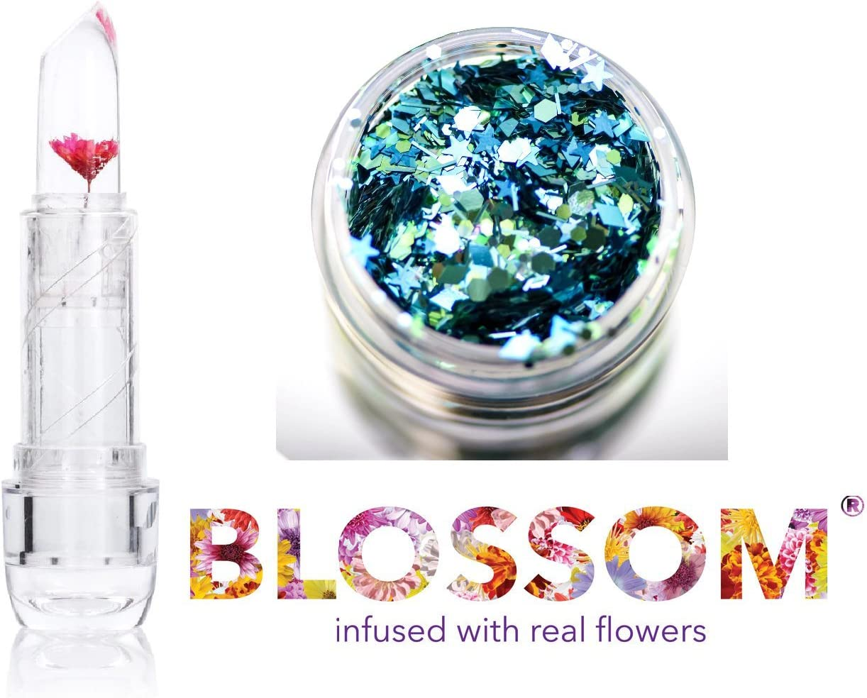 Blossom Crystal Lip Balm, Infused with Real Flowers (with Bonus Skin/Hair Glitter) (Red Flower)