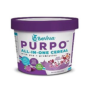 PURPO Granola Cup with instant Oat Milk (add water), Purple Sweet Potato, Pre + Probiotics, Vegan, Gluten Free (8x1.73 oz)