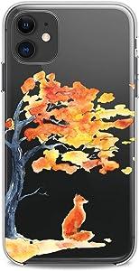 Cavka TPU Case Compatible with Apple iPhone 12 Mini 5G 11 Pro Xs Max X 8 Plus Xr 7 SE Animal Kawaii Soft Funny Girl Flexible Silicone Slim fit Clear Fox Design Orange Cute Print Watercolor Women Cute
