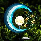 EPROSMIN Stars Moon Solar Lights Outdoor - Solar Powered Garden Lights Decorative Crackle Glass Globe Led Waterproof Landscap