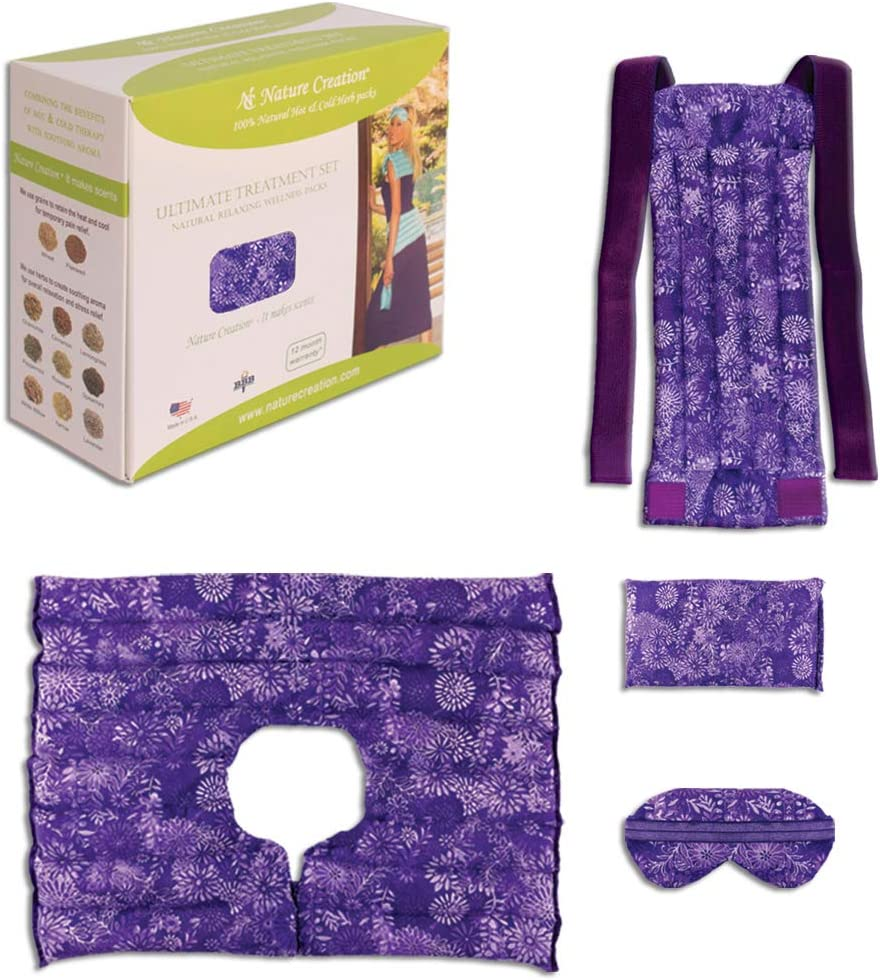 Nature Creation Ultimate Set- Herbal Heat Pack/Cold Pack - Hot and Cold Therapy (Purple Flower)