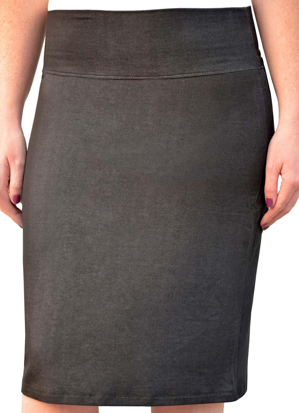 Kosher Casual Women's Modest Knee Length Denim Look Knit Pencil Skirt Small Black