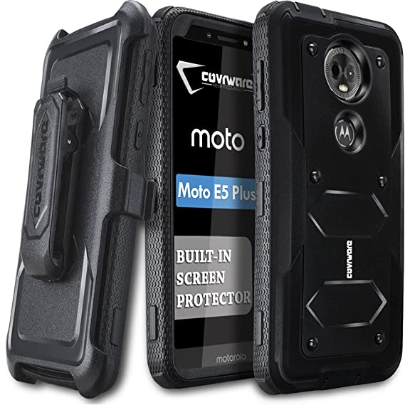 check out 6c4bc 03477 Moto E5 Plus / E5 Supra Case, COVRWARE [ Aegis Series ] Case with Built-in  [Screen Protector] Heavy Duty Full-Body Rugged Holster Armor Case [Belt ...