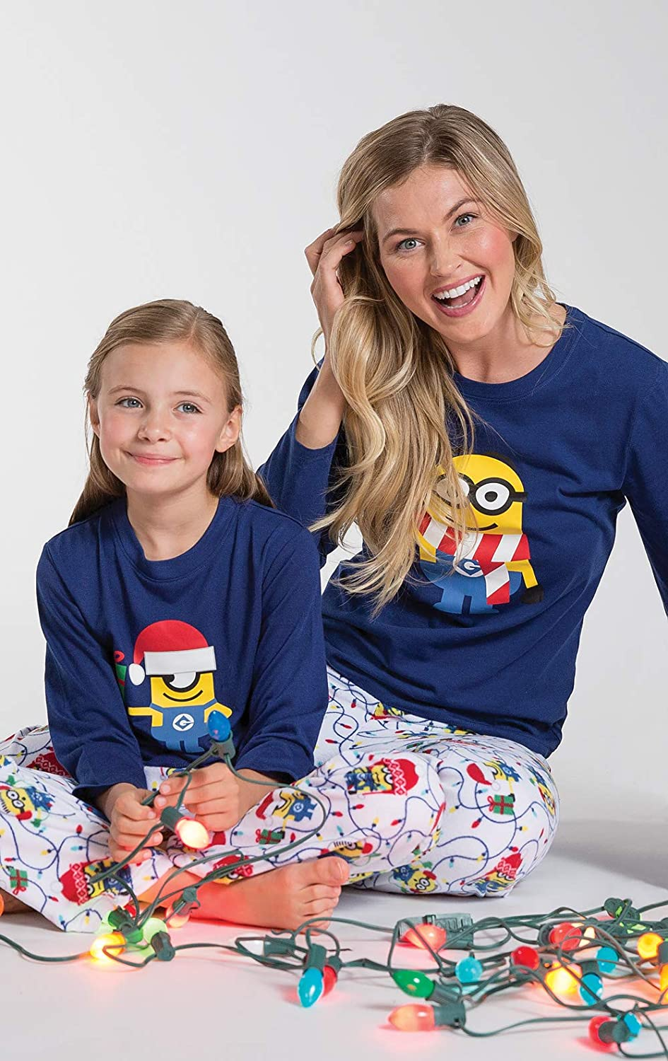 Blue PajamaGram Officially Licensed Minion Holiday Fleece Big Girls Pajamas