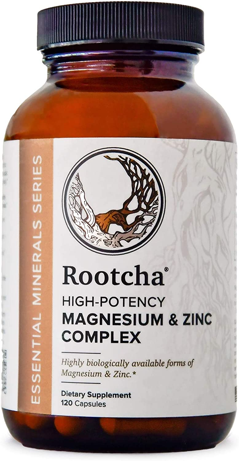 Potent & Pure Magnesium & Zinc - Natural Sleep, Immune, & Recovery Support - Fully Reacted Magnesium Citrate - Chelated Zinc Picolinate - by Rootcha | 120 Capsules