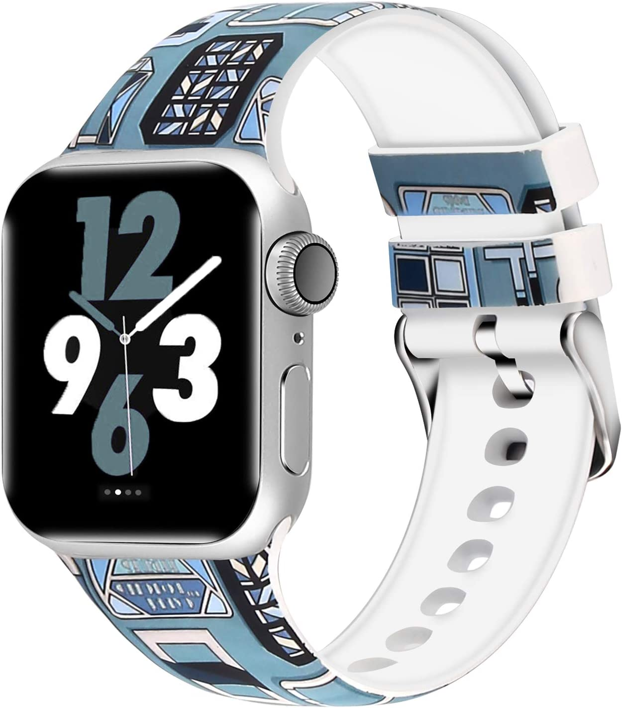Aomoband Floral Bands Compatible with Apple Watch 38mm 42mm 40mm 44mm, Soft Silicone Pattern Printed Replacements Straps for iWatch Series 4/3/2/1 (Floral-6, 42mm/44mm)