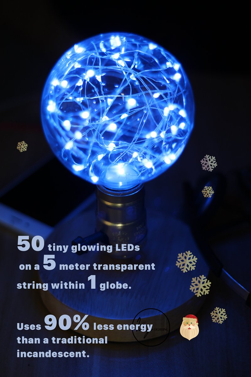 Judy Lighting - G95 LED Edison Bulb Decorative Starry String Light Bulb Glass Light Bulb(Blue) ,Halloween Lights, Holiday Decoration