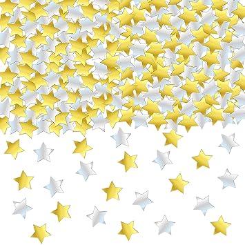 Amazon.com: Confeti de estrella dorada y plateada – Confeti ...
