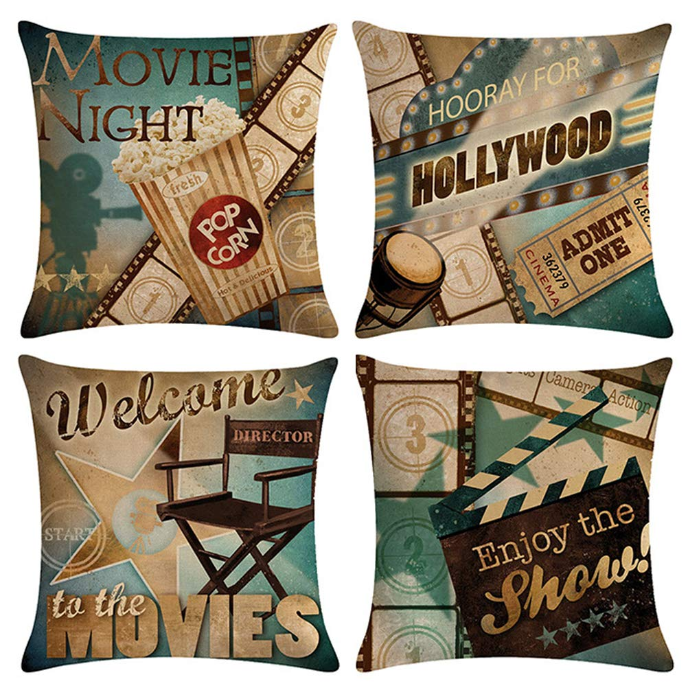 ULOVE LOVE YOURSELF Movie Theater Throw Pillow Covers Cinema Poster Design Cushion Cover with Popcorn,Filmstrip,Clapboard Pattern Home Decorative Pillowcases 18 X 18 Inch,4 Pack (Movie Night)