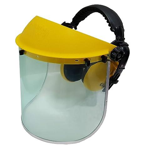 f54d453f Jasper Browguard Face Shield Clear Visor with Ear Muffs - ANSI Z87.1 CE  EN1731 - - Amazon.com