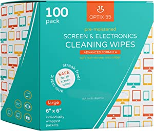Screen & Electronic Cleaning Wipes, 100 Pre-Moistened Individual Wrapped (6