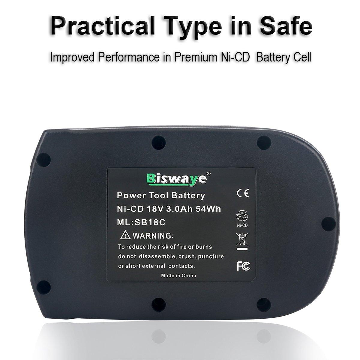 Biswaye 2Pack 18V Battery SB18C SB18A SB18B for Skil 18V Select System Cordless Tools 2810 2888 2895 2897 2898 4570 5850 5995 7305 9350, 3000mAh Ni-Cd by Biswaye (Image #4)