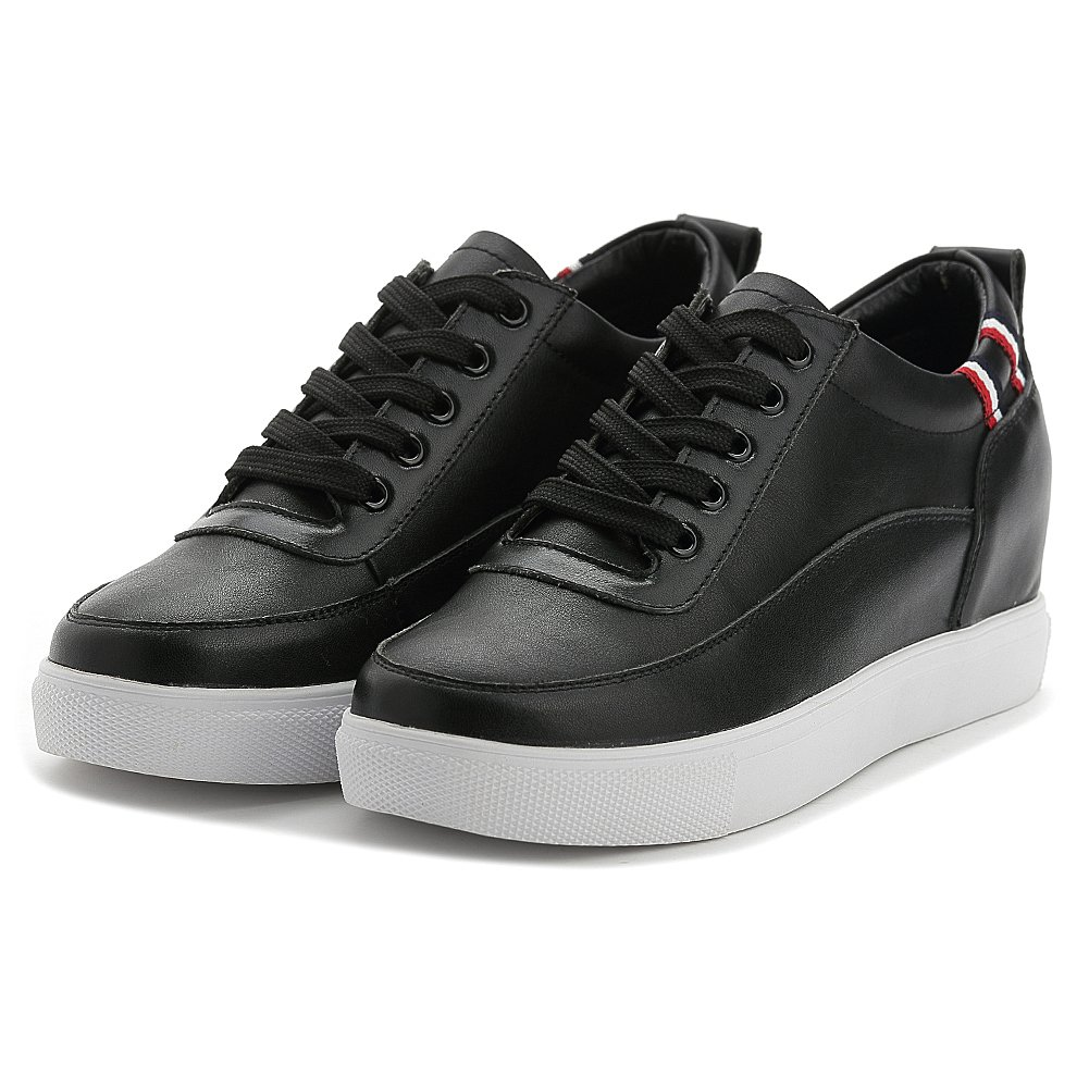 d5eecff55a9 Shenn Women's Hidden Wedge Heel Lace up Perfect Comfort Leather Trainers  Shoes