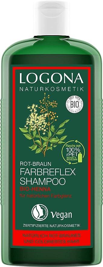 Logona Naturkosmetik - Champú con reflejos de color pelirrojo-castaño henna biológica, protección del color para cabello pelirrojo-castaño natural o ...