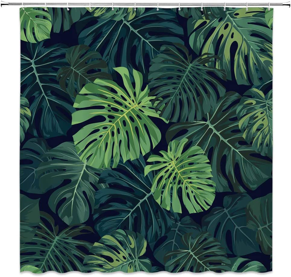 BOYIAN Tropical Plants Shower Curtain Decor Green Monstera Abstract Bizarre Pattern Fabric Bath Curtains Bathroom Accessories Waterproof Polyester with Plastic Hooks 70x70 Inch …
