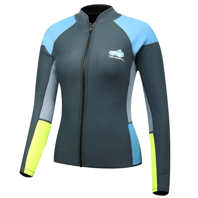 Lemorecn Women's 1.5mm Wetsuits Jacket Long Sleeve Neoprene Wetsuits Top (2047Grey6)