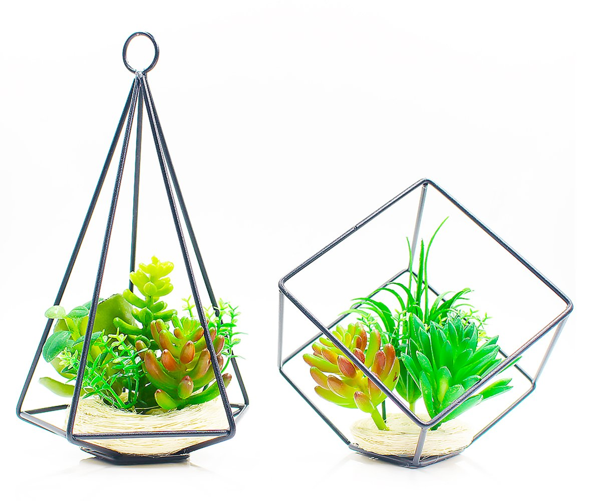 ZAZALUM Artificial Succulent Potted Plants, Set of 2 Fake Green Plant in Geometric Open Cube and pyramid metal Frame for Home Desktop Decor SHENZHEN XINBAOKANG CO LTD