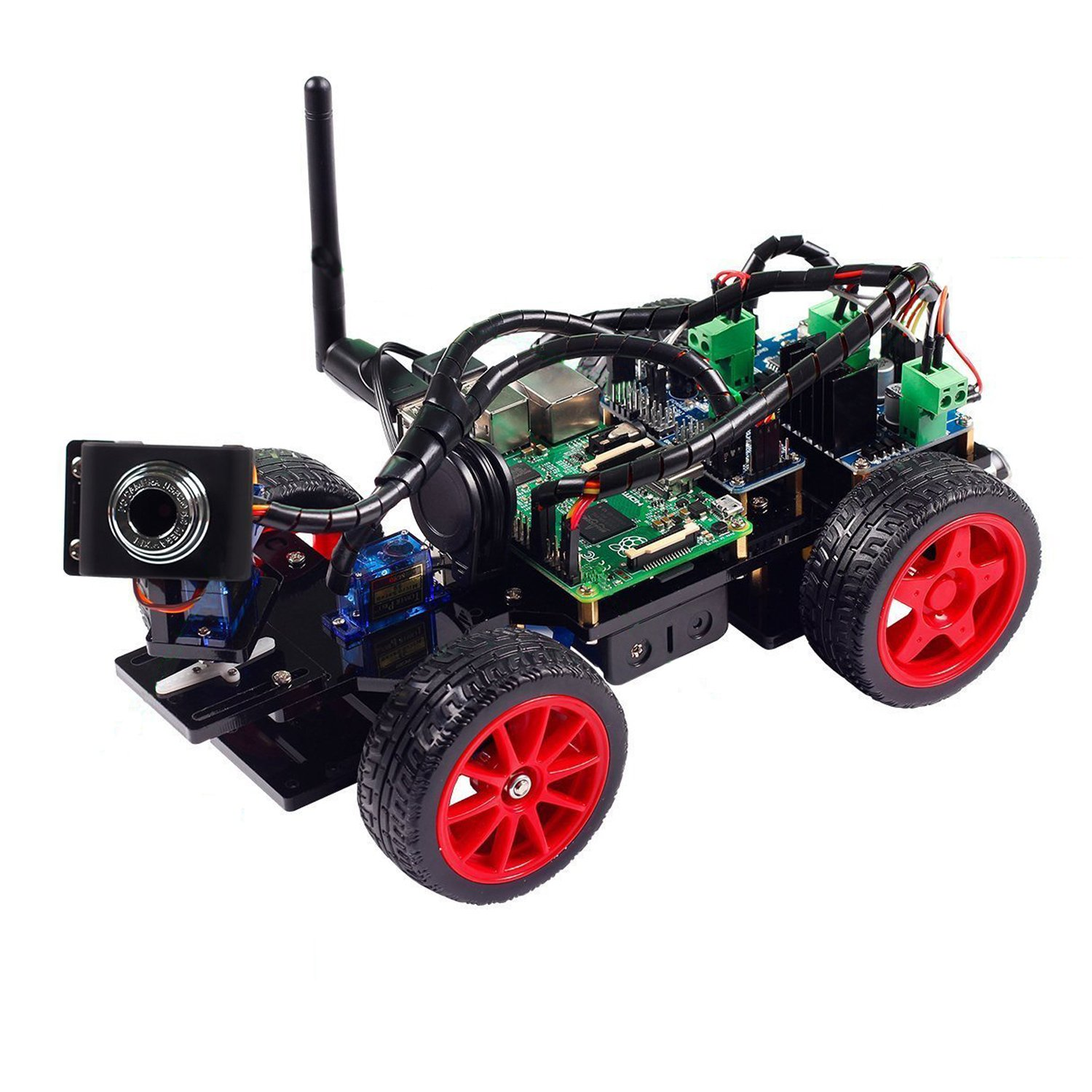 SunFounder for Smart Video Car Kit for SunFounder Raspberry Pi with Android App, Compatible with RPi 3, 2 and RPi 1 Model B+ (Pi Not Included) 792b11