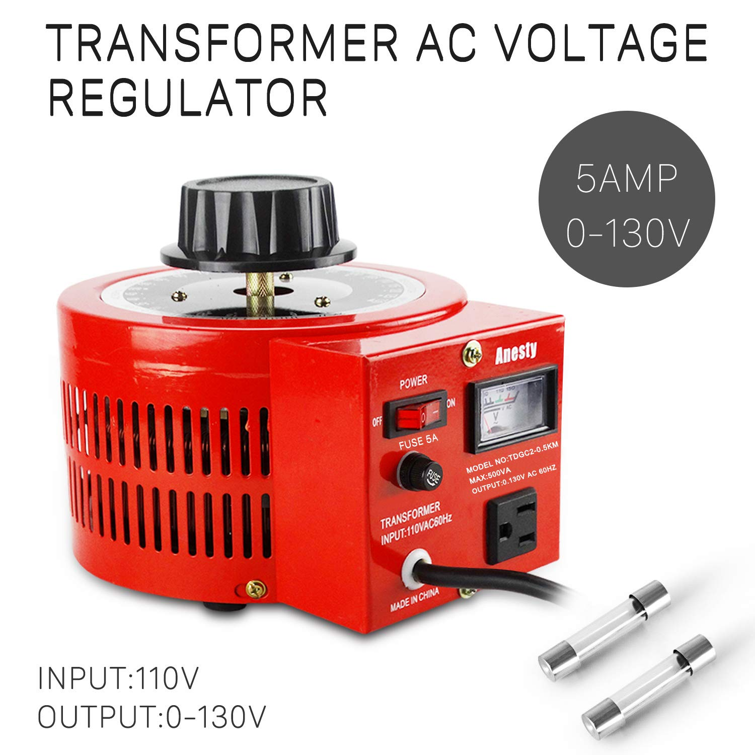 Anesty Variable Auto Transformers Adjustable Voltage Transformers 5Amp 0-130V by Anesty (Image #2)
