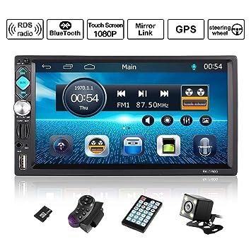 Autoradio 2 DIN Reproductor Mp5 de Coche 7 Pulgadas 1080P FHD Pantalla Táctil Bluetooth GPS Radio FM Mirror Link Carga Rápida con Control Remoto ...
