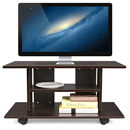 HOMFA Mueble tv móvil Mueble de comedor tv moderno mesa para tv con 4 ruedas 80