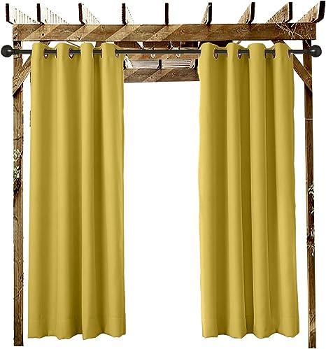 ChadMade Cortinas Terraza Exterior Amarillo 132 An X 259 L CM Cortina Opaca con Ojal para el Porche Delantero Pérgola Cabaña Patio Cubierto Gazebo ...