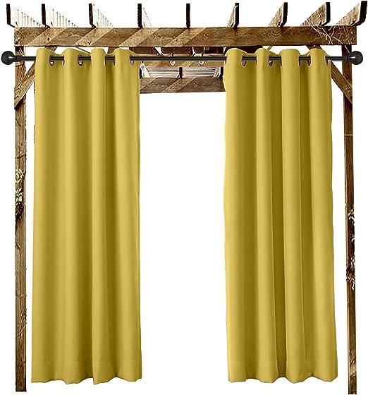 ChadMade Cortinas Terraza Exterior Amarillo 132 An X 259 L CM Cortina Opaca con Ojal para el Porche Delantero Pérgola Cabaña Patio Cubierto Gazebo Dock y Beach Home (1 Pieza): Amazon.es: Jardín