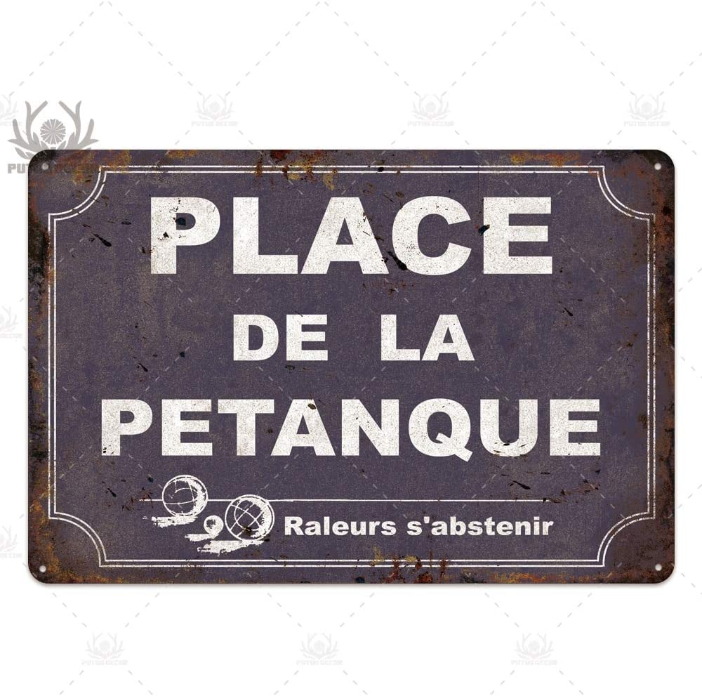 GVFDNTFRF Place des Aperos Plaque Metall Vintage Franz/ösisch Retro Metall Zinn Zeichen Bar Pub Club Wanddekor Eisenmalerei Dekorplatte 7,8x11,8inch TH0008