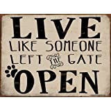 Funny Dog Signs ~ Live Like Someone Left the Gate Open ~ Metal 9 x 12 inches ~ USA Made ~ Dog Lover, Walker, Sitter, Veterinarian, Groomer, House, Doggie Daycare, Decor & Gifts (RK1015HP_9x12)