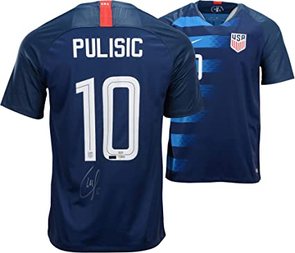 best website 234fd 7b41a Christian Pulisic Team USA Autographed Blue USA Jersey ...