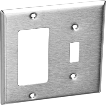 Stainless Steel Outlet Device Cover Decora//GFI with toggle switch combo.