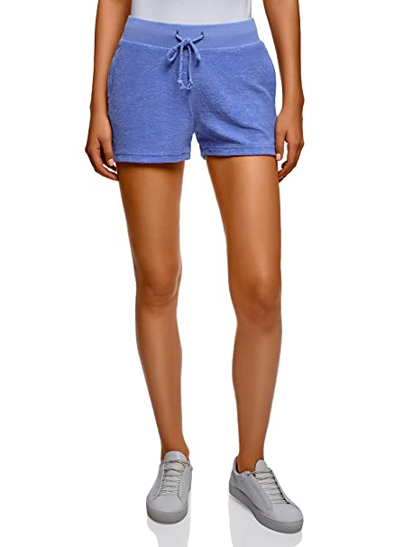 oodji Ultra Damen Frottier-Shorts mit Bindebändern, Blau, DE 32   EU 34 b4da7fcb60