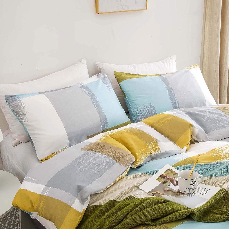 Jumeey Art Duvet Cover Queen Abstract Plaid Bedding Set Full Cotton Men Modern Blue Yellow White Grey Patchwork Bedding Decorative Women Girls Elegant