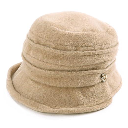 Womens Wool Blend Derby Hat 1920s Fedora Round Bucket Fall Winter Bowler  Cloche Beret Painter Beige 6e7870412401