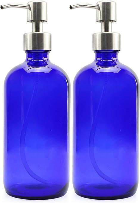 Cobalt Blue GLASS Bottle 16 Oz With 28//400 Pump Pack Of 10