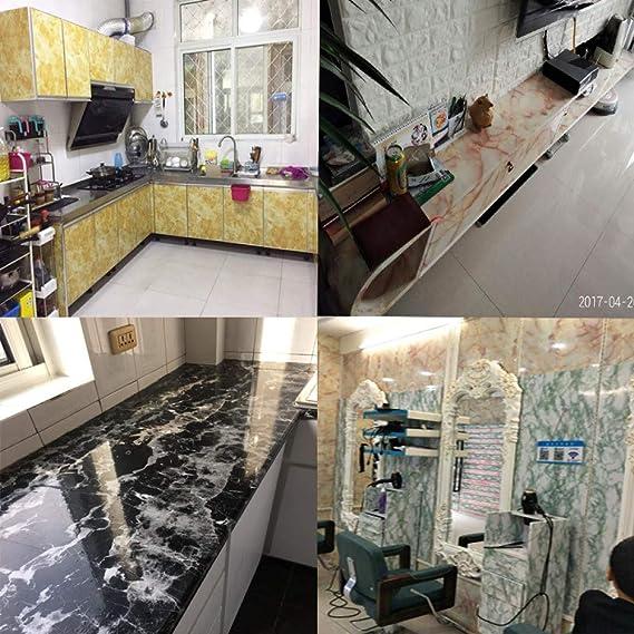 LZYMLG Papel pintado autoadhesivo de mármol Cocina extraíble Vinilo Prueba de aceite Etiqueta de la pared Forro de la tabla Papel de contacto Rollo METRO: Amazon.es: Bricolaje y herramientas