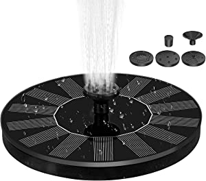 Frebw Solar Powered Bird Bath Fountain Pump with 4 nozzles, Free Standing Outdoor Submersible Fountain Panel Kit for Pond, Pool, Patio, Garden (AS10B-1.4W)