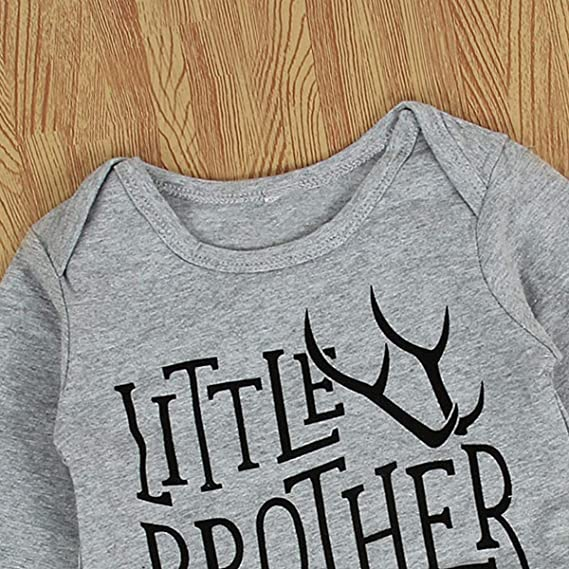 Kleinkind Neugeborenes Baby Geschwister Outfits Big Brother Little Brother Deer Romper Color : Gray, Size : Little bro 0-6M