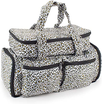 Roo Beauty Bags, Beauticians and Manicurist Makeup Tool Bag, Professional Cosmetics Case in Bellaroo Design Snow Leopard Print