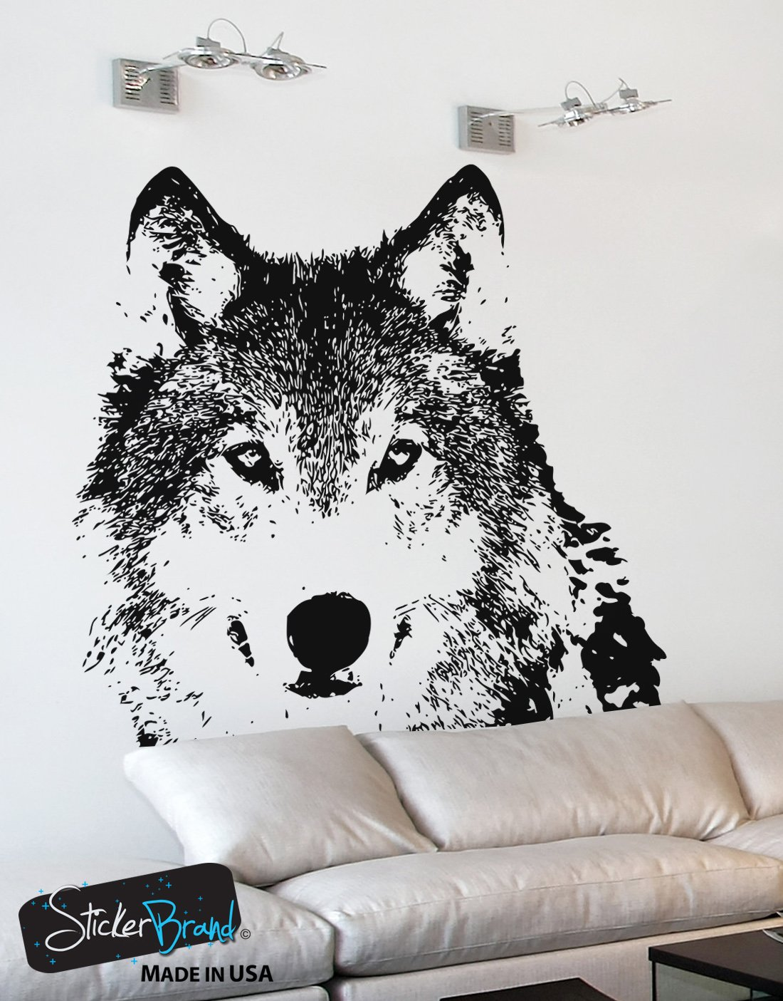 Amazon Stickerbrand Animals Vinyl Wall Art Wolf Face Wall