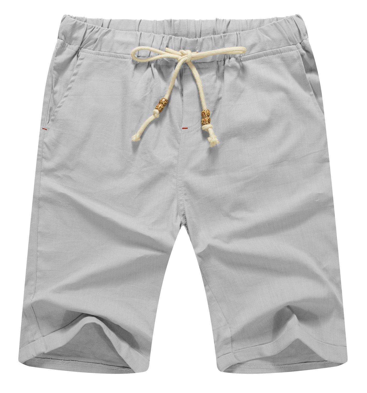 Mr.Zhang Men's Linen Casual Classic Fit Short Summer Beach Shorts Light Gray-US XL