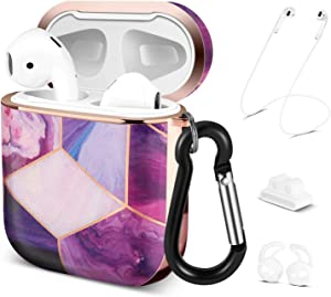 TNP Hard Protective Case Cover for Apple AirPods 1/2 Gen, Cute Skin with Carabiner Clip Keychain Strap Ear Hook Accessories Compatible with Airpod 1st/2nd Generation Girls Women Men (Purple Check)