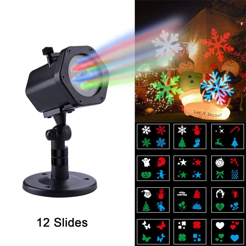 Qedertek Weihnachten LED Effektlicht, LED Projektor Lichter mit 12 Motiven, Weihnachtsbeleuchtung Auß en fü r Gaten, Haus- oder Gebä ubedekoration, Halloween