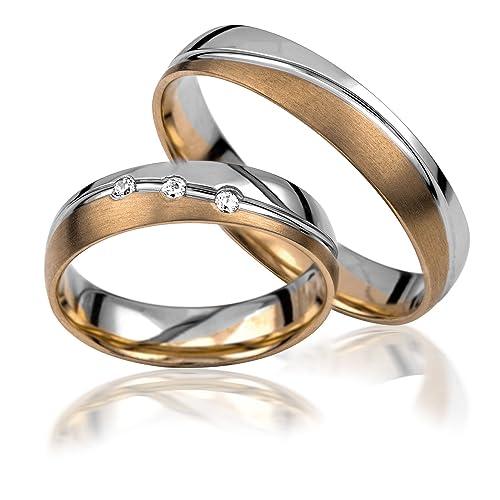 2 anillos de boda, de oro 585, bicolores. incluye grabado