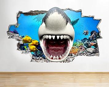 Tekkdesigns Z063 Shark Aquarium Kids Cool Jungen Wandbild