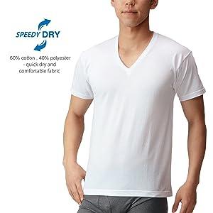 [ビー・ブイ・ディ] 吸水速乾 3枚組VネックTシャツ アマゾン限定 メンズ WH 日本 L (日本サイズL相当)