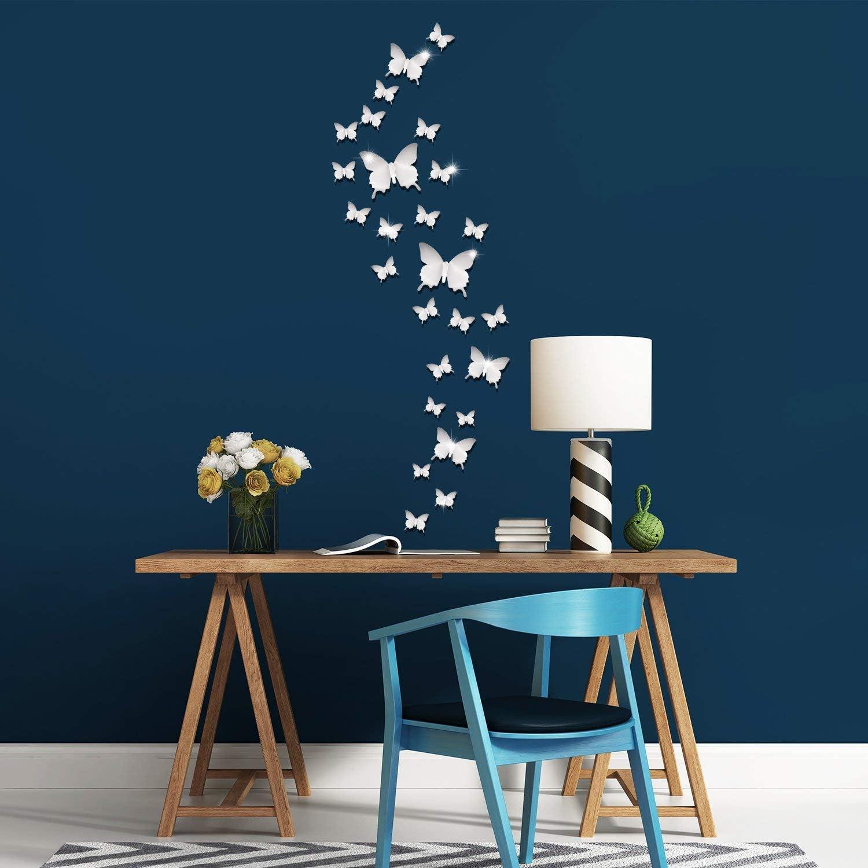 DEZHI 36 Pi/èces DIY Miroir Papillon Combination 3D Autocollants Muraux Miroir Stickers D/écoration de la Maison