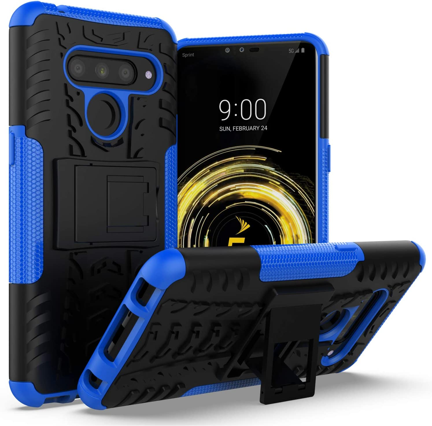 LG V50 Case,LG V50 ThinQ Case with Kickstand Holder,AZHEPU Dual Layer Shock Absorbing Rugged Armor Protective Phone Cover Case for LG V50 5G / LG V50 ThinQ 5G (2019) Blue