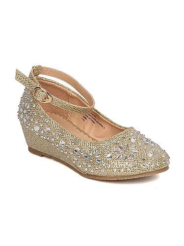 b323c9d79a1 Girls Glitter Leatherette Rhinestone Ankle Strap Wedge Heel GC47 - Gold  (Size  Little Kid