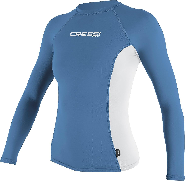 Blue White LG Cressi Long Sleeve Rash Guard Womens